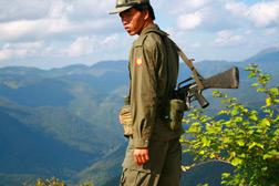 A young Shan State Army  soldier on the frontline in eastern Burma. Click image to expand.