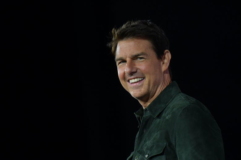 Actor Tom Cruise makes a surprise appearance in Hall H to promote Top Gun: Maverick  at the Convention Center during Comic Con in San Diego, California on July 18, 2019. (Photo by Chris Delmas / AFP)        (Photo credit should read CHRIS DELMAS/AFP/Getty Images)
