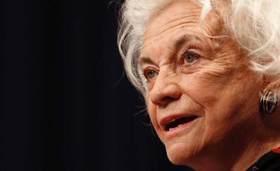 Retired U.S. Supreme Court justice Sandra Day O'Connor delivers the keynote speech during a conference at the Georgetown University Law Center in Washington January 26, 2010.