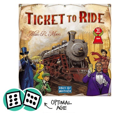 Ticket to Ride with dice showing optimal age