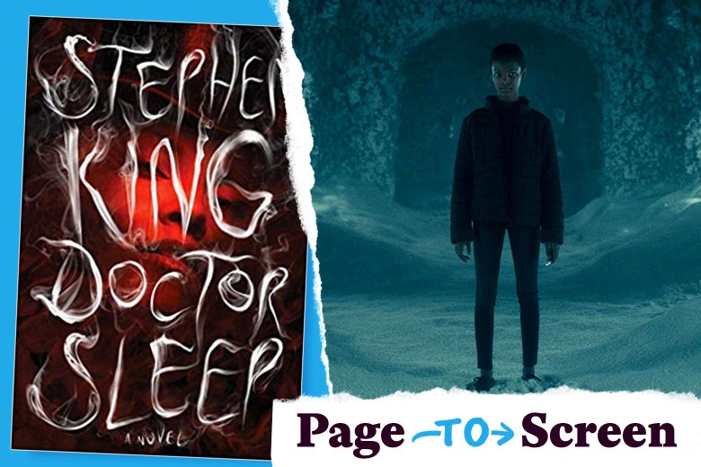 The cover of the book Doctor Sleep, and a still from its movie adaptation