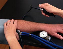 Taking blood pressure.