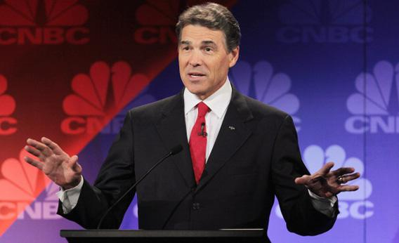 Texas Gov. Rick Perry speaks during a debate hosted by CNBC and the Michigan Republican Party at Oakland University on November 9, 2011 in Rochester, Michigan.
