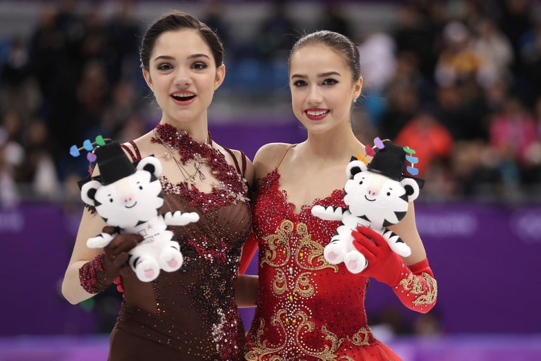 GANGNEUNG, SOUTH KOREA - FEBRUARY 23:  Silver medal winner Evgenia Medvedeva of Olympic Athlete from Russia (L) and gold medal winner Alina Zagitova of Olympic Athlete from Russia celebrate during the victory ceremony for the Ladies Single Skating Free Skating on day fourteen of the PyeongChang 2018 Winter Olympic Games at Gangneung Ice Arena on February 23, 2018 in Gangneung, South Korea.  (Photo by Richard Heathcote/Getty Images)