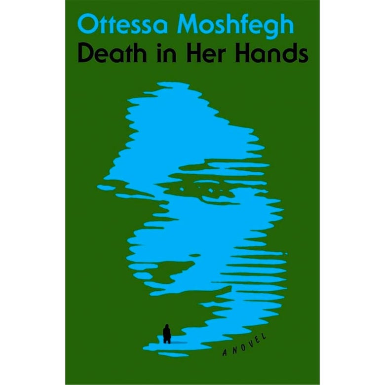 The cover of Death in Her Hands, with a fuzzy, mysterious image of a woman's face