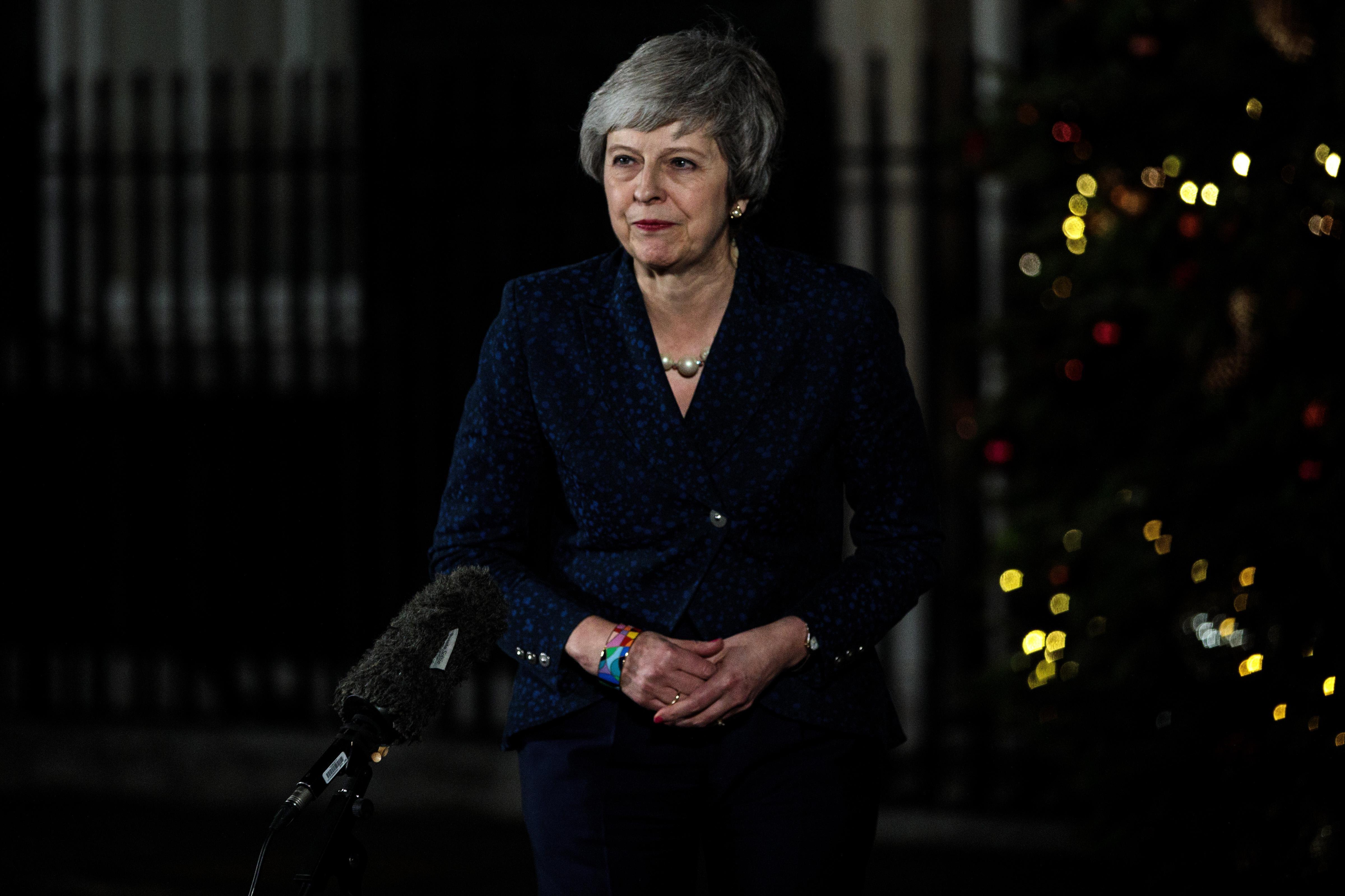 Theresa May outside No. 10 Downing Street.