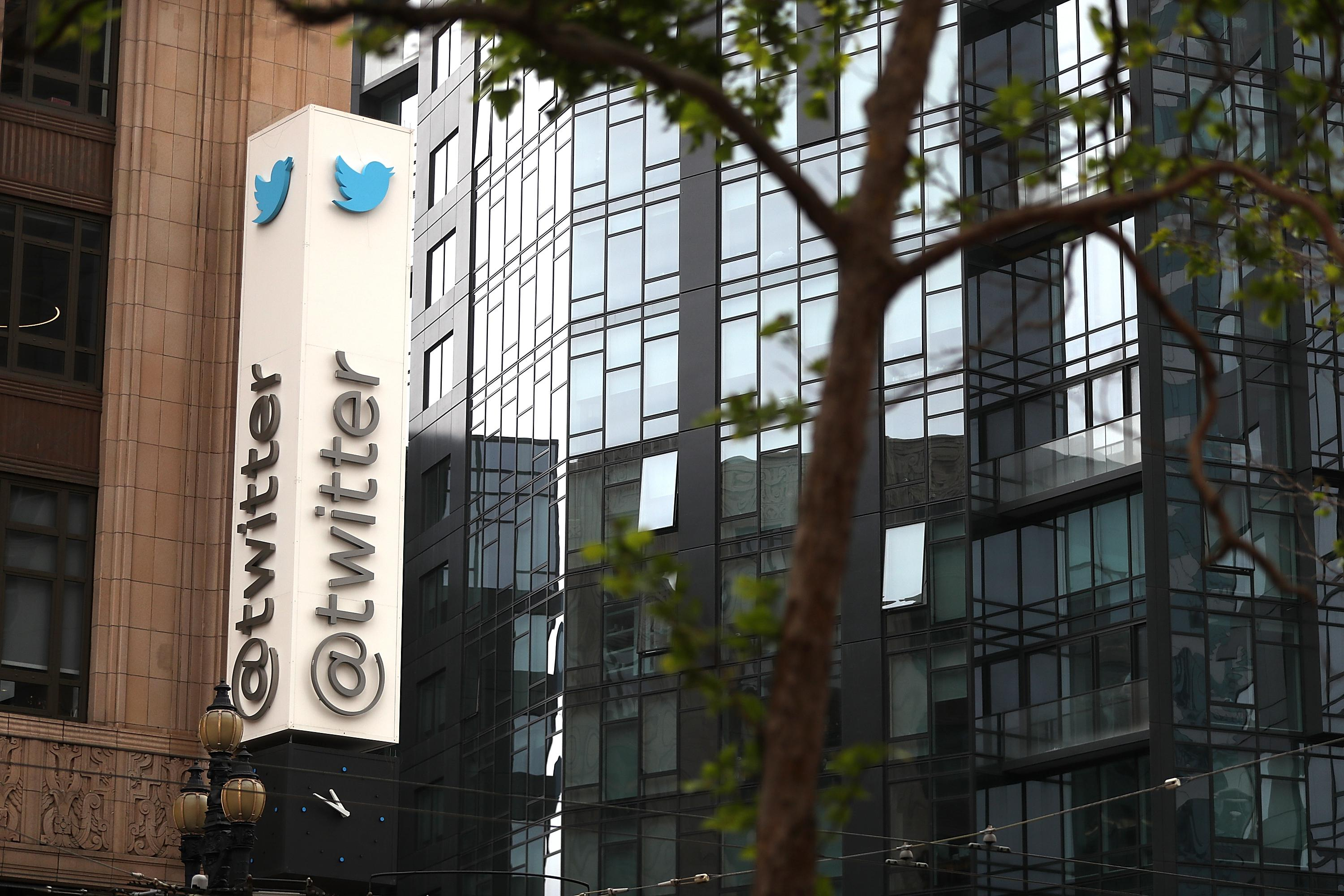 SAN FRANCISCO, CA - APRIL 26:  A sign is posted on the exterior of Twitter headquarters on April 26, 2017 in San Francisco, California. Twitter reported  better-than-expected first quarter earnings with revenue of $548 million, compared to analyst estimates of roughly $512 million. Monthly active users to jumped to 328 million, 7 million more than expected.  (Photo by Justin Sullivan/Getty Images)
