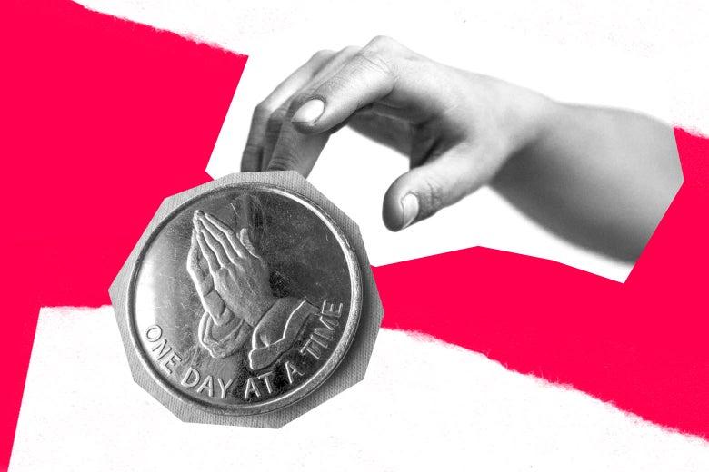A hand reaches toward a sobierty coin.