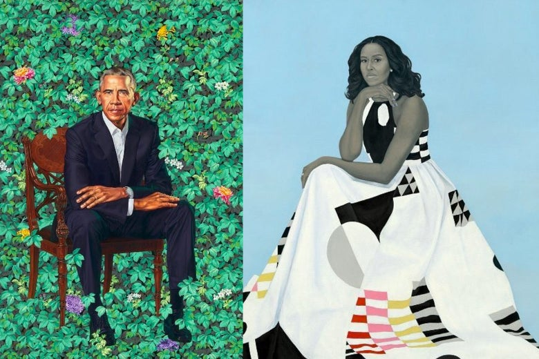 Side-by-side images of Barack Obama and Michelle Obama's portraits at the National Portrait Gallery.