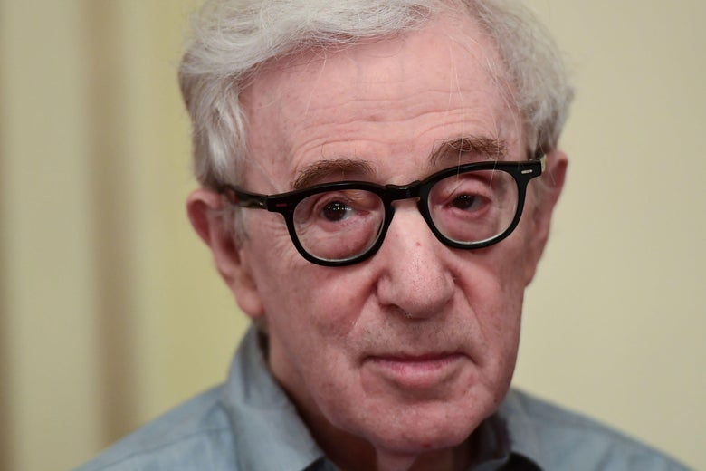 A closeup of Woody Allen.