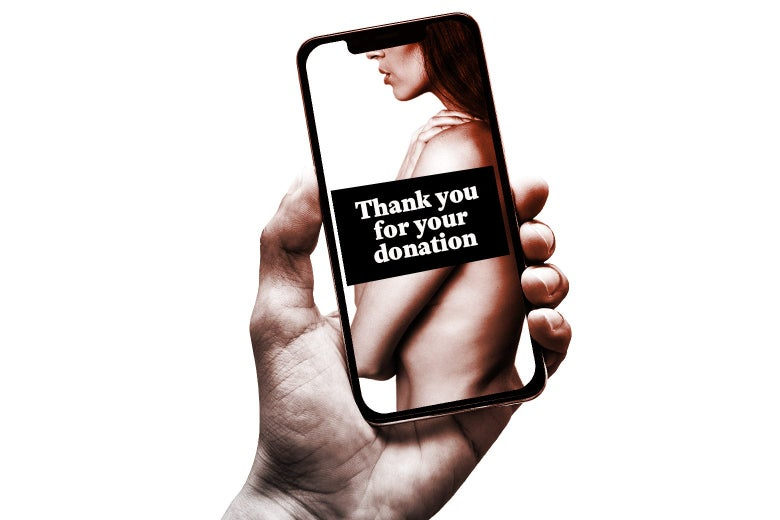 "A hand holds up a smartphone with a photo of a naked woman on it. The woman is covered by a bar of text that says, ""Thank you for your donation."""