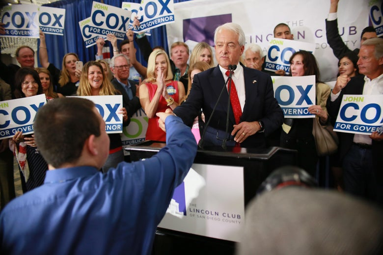SAN DIEGO, CA-MAY 5: California GOP Gubernatorial Candidate John Cox speaks during an election eve party at the U.S. Grant Hotel on  June 5, 2018 in San Diego, California.  Cox, a businessman from Rancho Santa Fe, CA, is the leading Republican candidate for Governor of California(Photo by Sandy Huffaker/Getty Images)