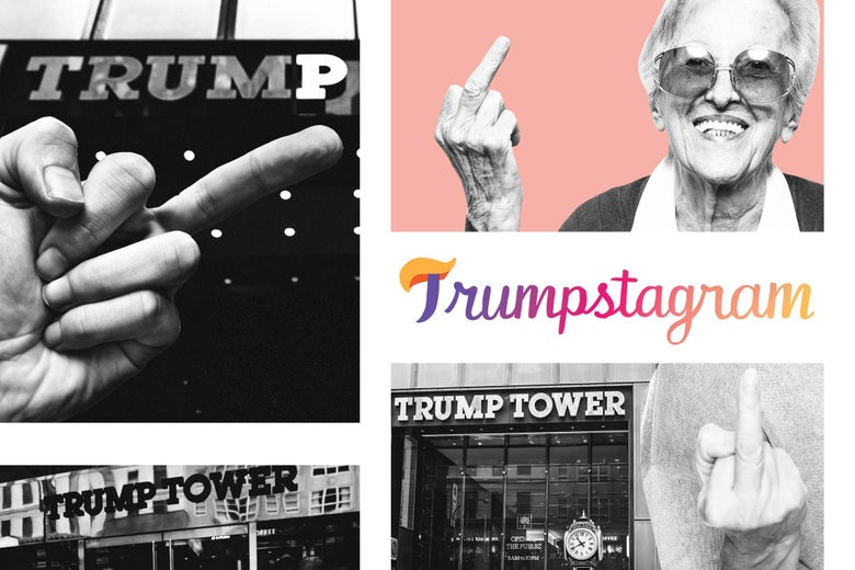 A collage of multiple people flipping off Trump Tower.
