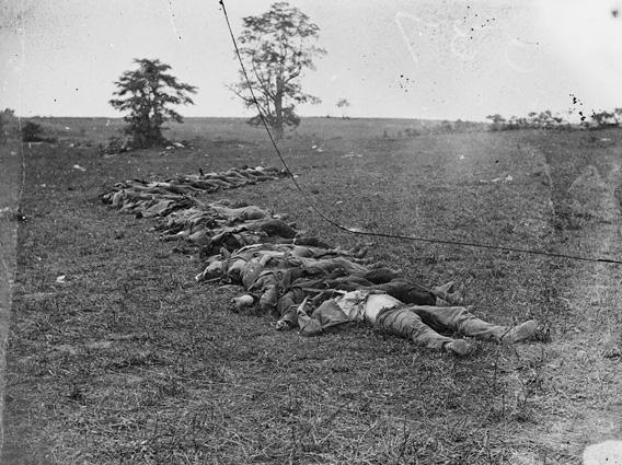 Bodies of Confederate dead gathered for burial at Antietam.