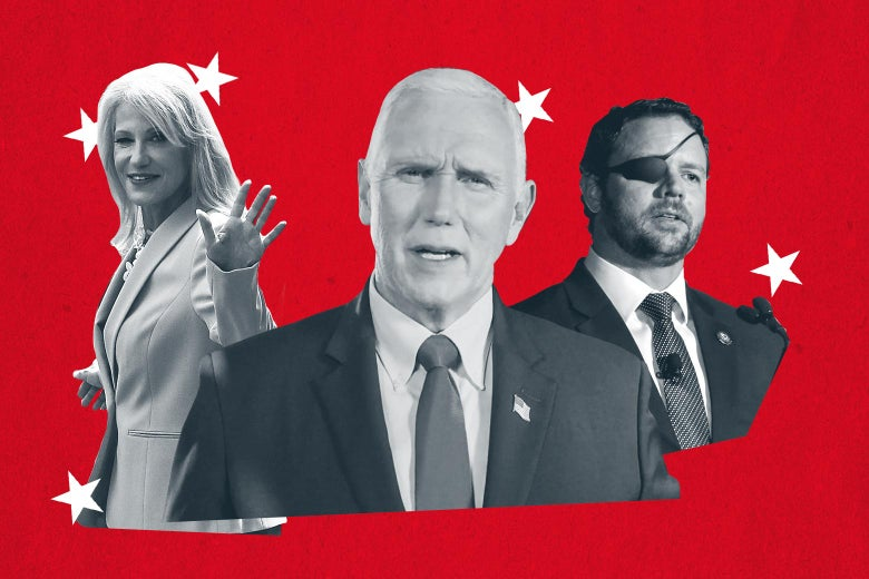 Kellyanne Conway, Mike Pence, and Dan Crenshaw, all seen against a red background with white stars