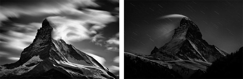 Left: Matterhorn, Eastern Clouds, 2012 Right: Matterhorn Night Clouds 1