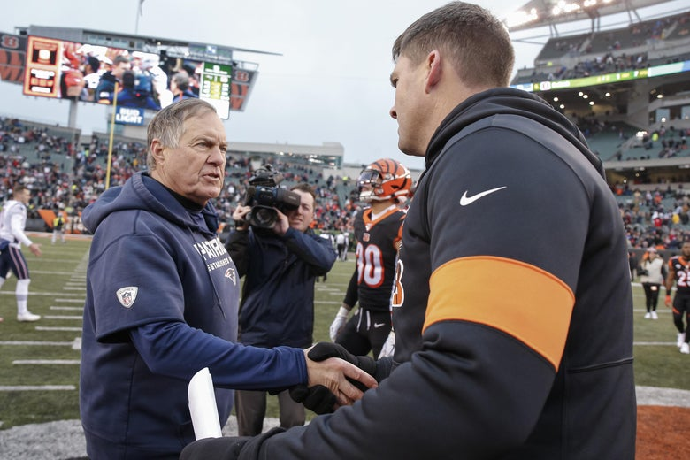CINCINNATI, OH - DECEMBER 15: Head coach Bill Belichick of the New England Patriots and Head coach Zac Taylor of the Cincinnati Bengals shake hands following the game at Paul Brown Stadium on December 15, 2019 in Cincinnati, Ohio. (Photo by Michael Hickey/Getty Images)