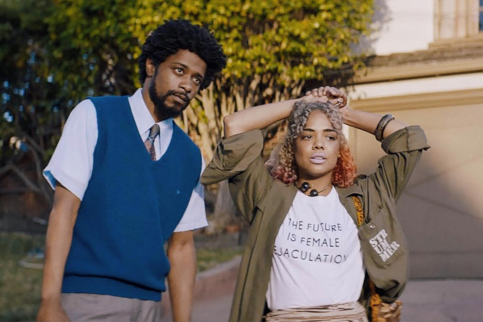 Lakeith Stanfield and a female co-star in Sorry to Bother You.