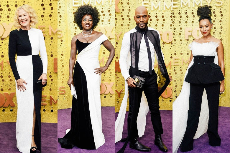 Catherine O'Hara; Viola Davis; Karamo Brown; Melanie Liburd on the Emmys purple carpet.