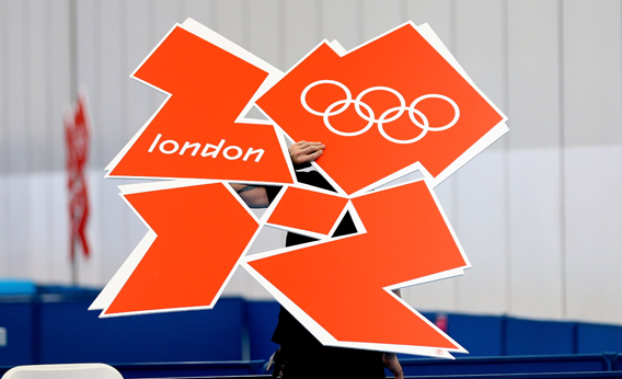 A London 2012 logo is installed in the table tennis practice arena at ExCel on July 24, 2012 in London, England.
