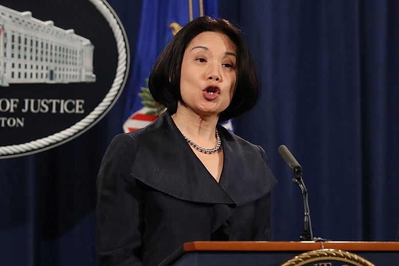 U.S. Attorney Jessie Kong Liu speaks during a news conference at the Department of Justice.