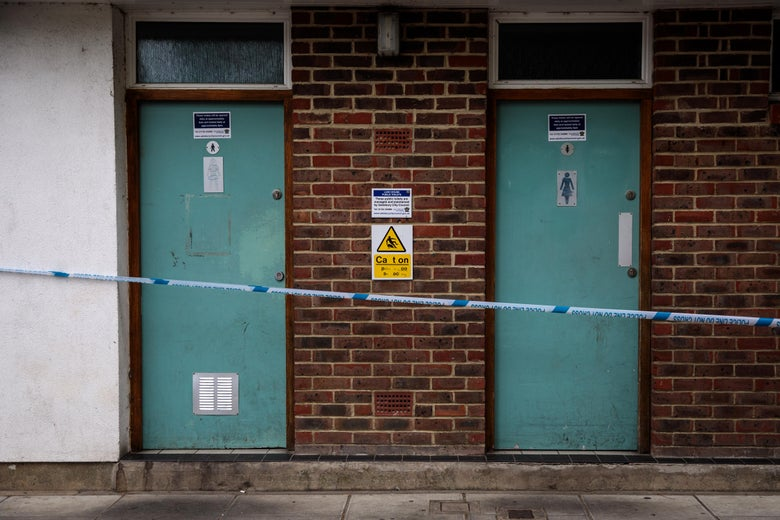 A police cordon in place around male and female public toilets at Queen Elizabeth Gardens in Salisbury, thought to be connected to a man and woman in Amesbury who are in hospital after being exposed to the nerve agent Novichok on July 4, 2018 in Salisbury, England.