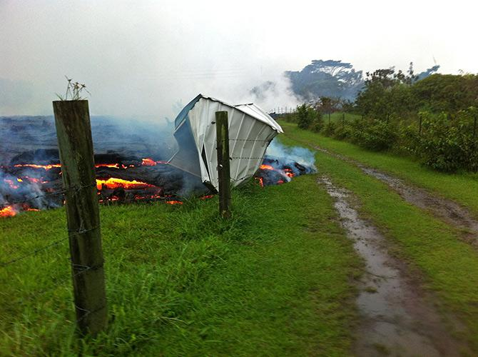On Saturday, the lava burned this shed.