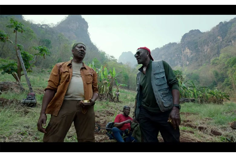 A scene from Da 5 Bloods showing Clarke Peters, Delroy Lindo, and Isaiah Whitlock Jr. in the jungles of Vietnam.