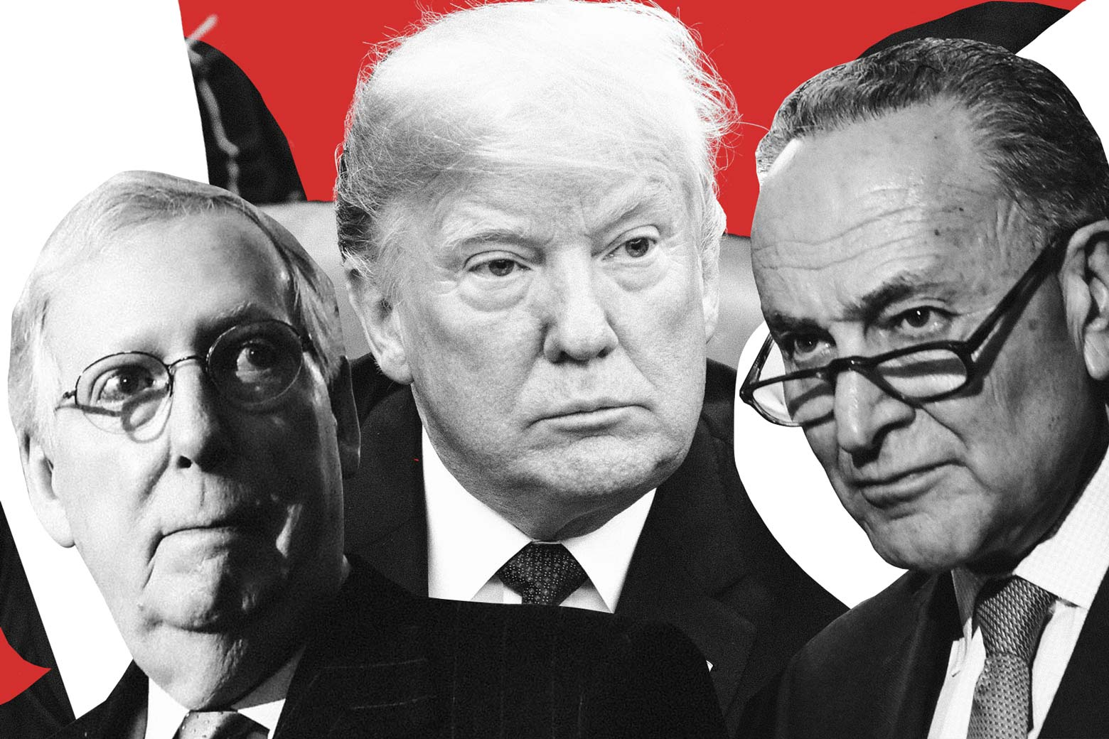 Mitch McConnell, Donald Trump, and Chuck Schumer portraits in black and white, photo-collaged next to each other on a red background.