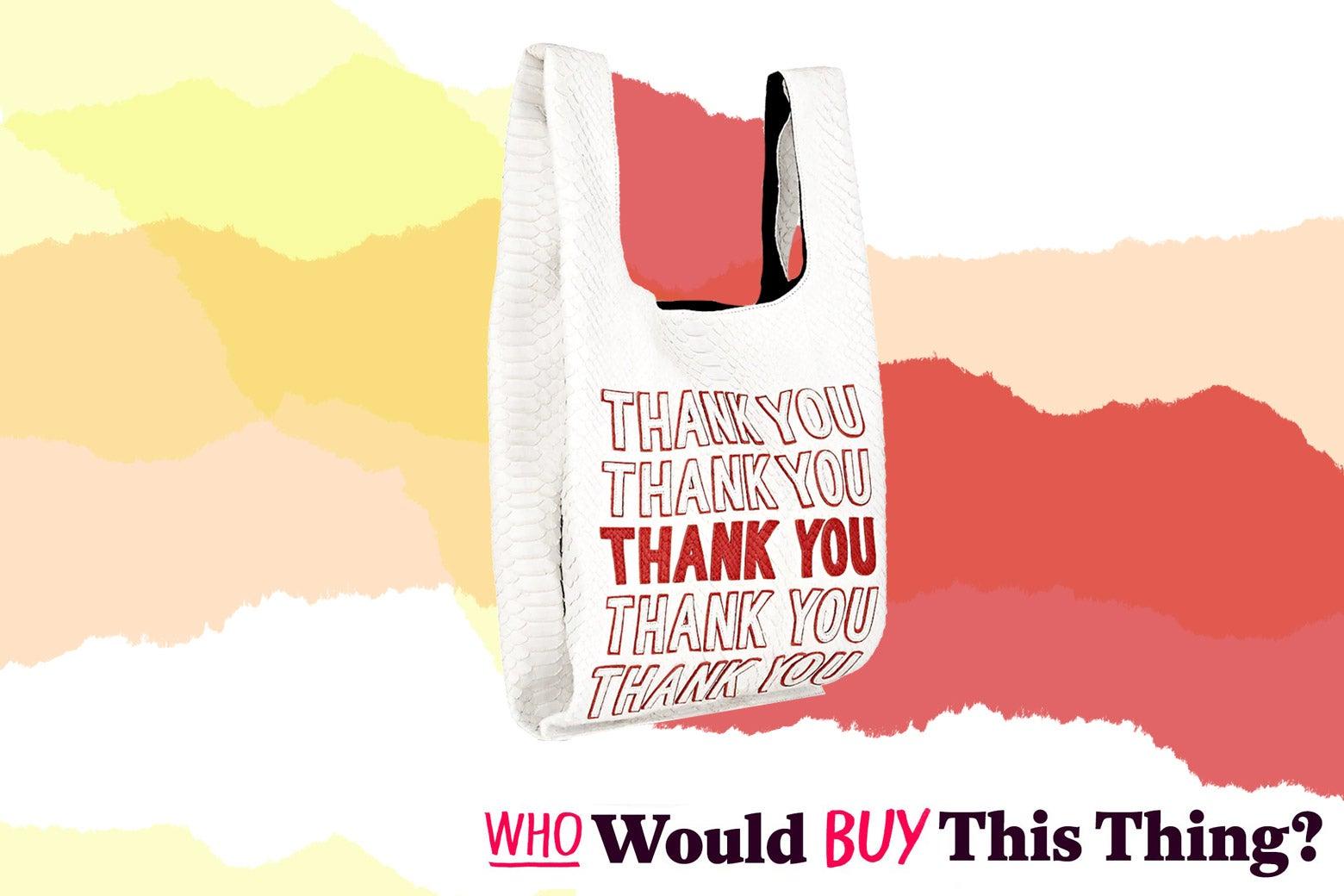 """""""Thank You"""" python tote bag."""