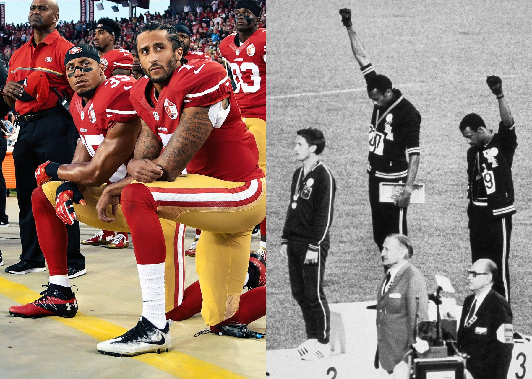 Left: Colin Kaepernick and Eric Reid of the San Francisco 49ers kneel in protest during the national anthem prior to playing the Los Angeles Rams at Levi's Stadium on Sept. 12, 2016, in Santa Clara, California. Right: American sprinters Tommie Smith and John Carlos raise their fists at the 1968 Olympic Games in Mexico City.