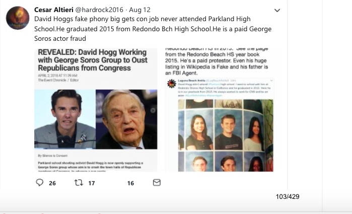 A right-wing meme attempting to show that David Hogg was paid by George Soros.