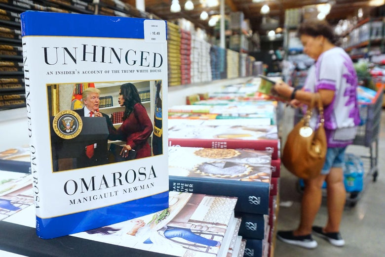 Omarosa Manigualt-Newman's newly released book is displayed and for sale in Alhambra, California on Aug. 4.