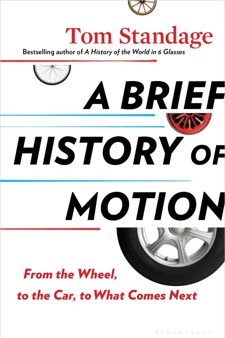 The cover of the book A Brief History of Motion, with the title in block letters over images of a few different kinds of wheels