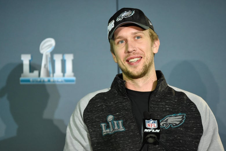 BLOOMINGTON, MN - FEBRUARY 05: Nick Foles #9 of the Philadelphia Eagles speaks to the media during Super Bowl LII media availability on February 5, 2018 at Mall of America in Bloomington, Minnesota. The Philadelphia Eagles defeated the New England Patriots in Super Bowl LII 41-33 on February 4th. (Photo by Hannah Foslien/Getty Images)