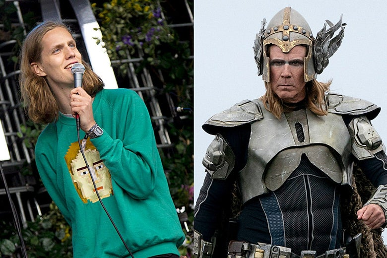 Photo of Dadi Freyr Petursson holding a mic beside a movie still of Will Ferrell as Lars Erickssong, costumed in Icelandic armor