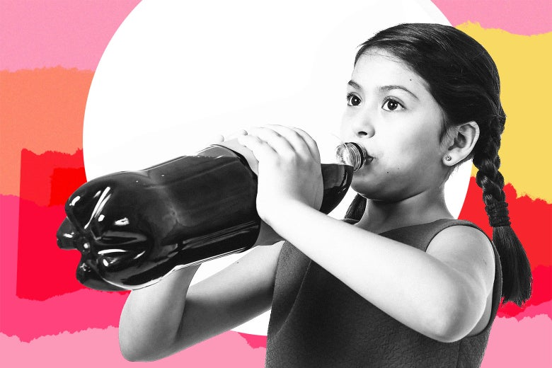 A young girl drinks directly out of a two-liter bottle of probably soda. Her no-soda mom is nowhere to be found.
