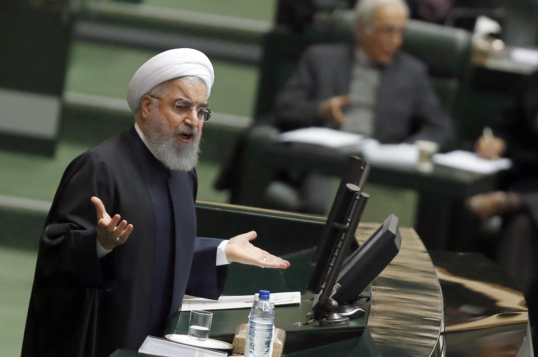 Iran's President Hassan Rouhani presents to the parliament his budget for 2018-2019 on December 10, 2017, in Tehran. / AFP PHOTO / ATTA KENARE        (Photo credit should read ATTA KENARE/AFP/Getty Images)