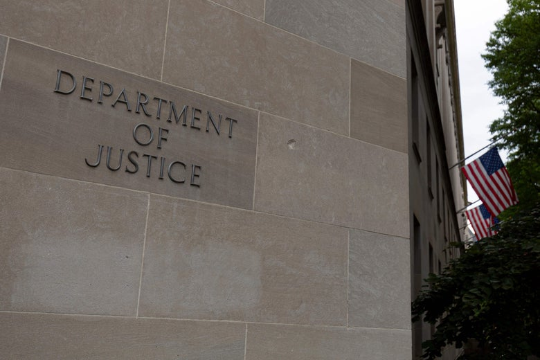 Exterior of the Department of Justice building in Washington.