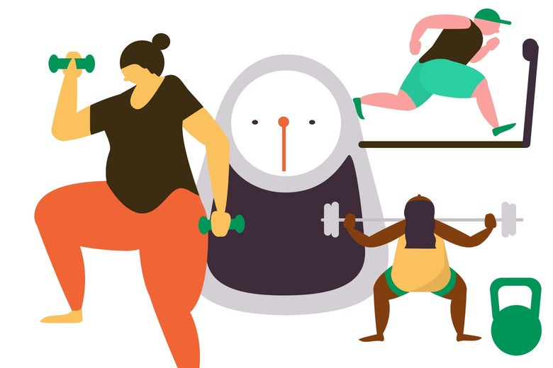 An illustration of people lifting weights and running on a treadmill with a scale in the middle.