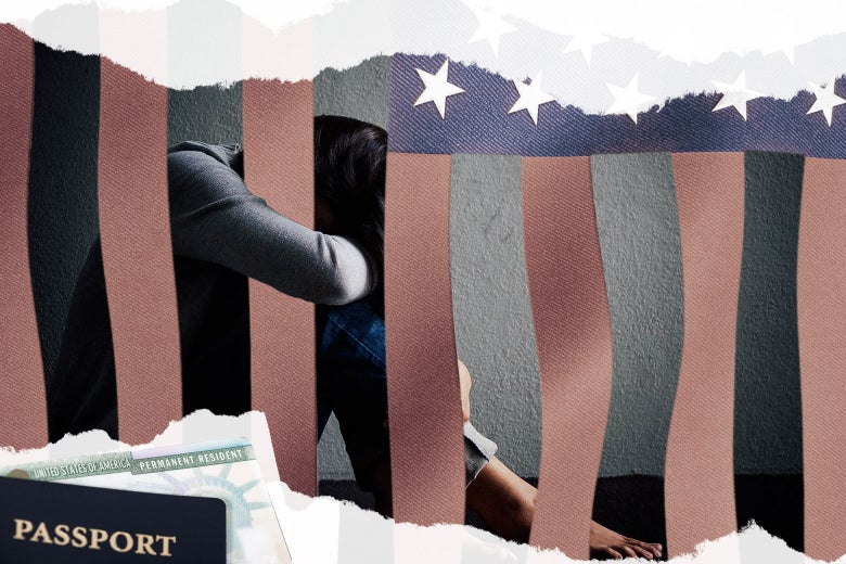 A collage of a woman trapped behind the bars of the American flag with a passport and green card.