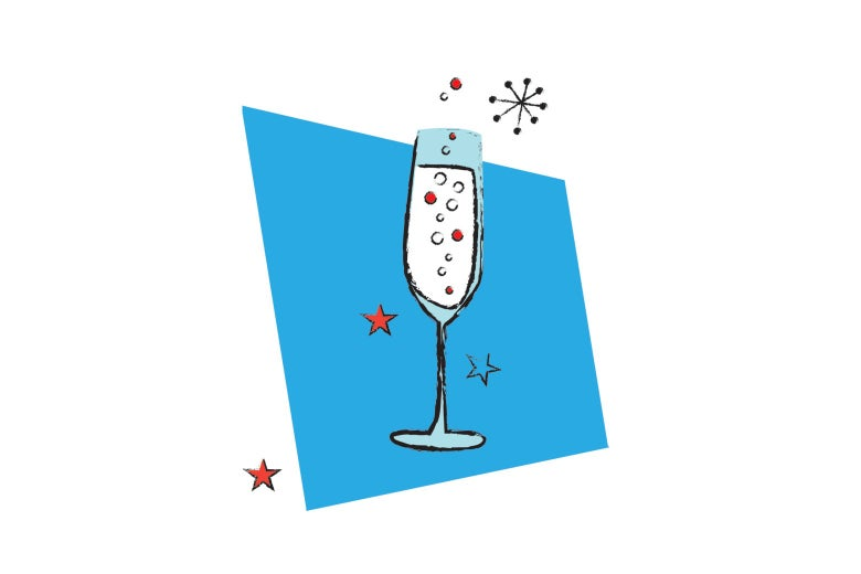 Illustration of a cocktail in a champagne glass.