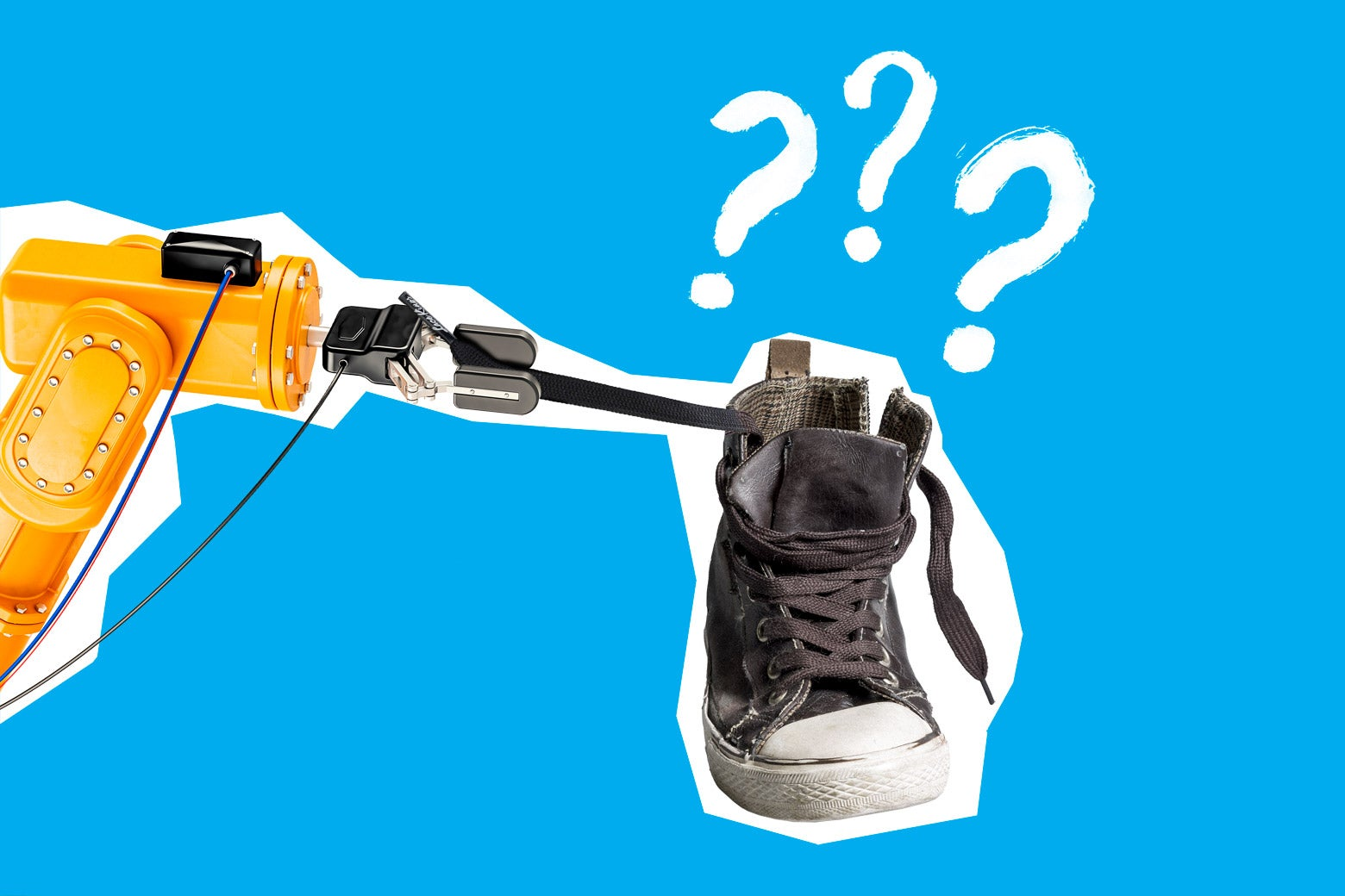 A robot trying to tie a shoelace on a shoe with question marks around it.