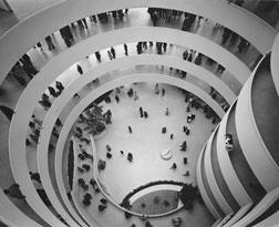 Frank Lloyd Wright at the Solomon R. Guggenheim Museum during construction, c. 1958. Click image to expand.