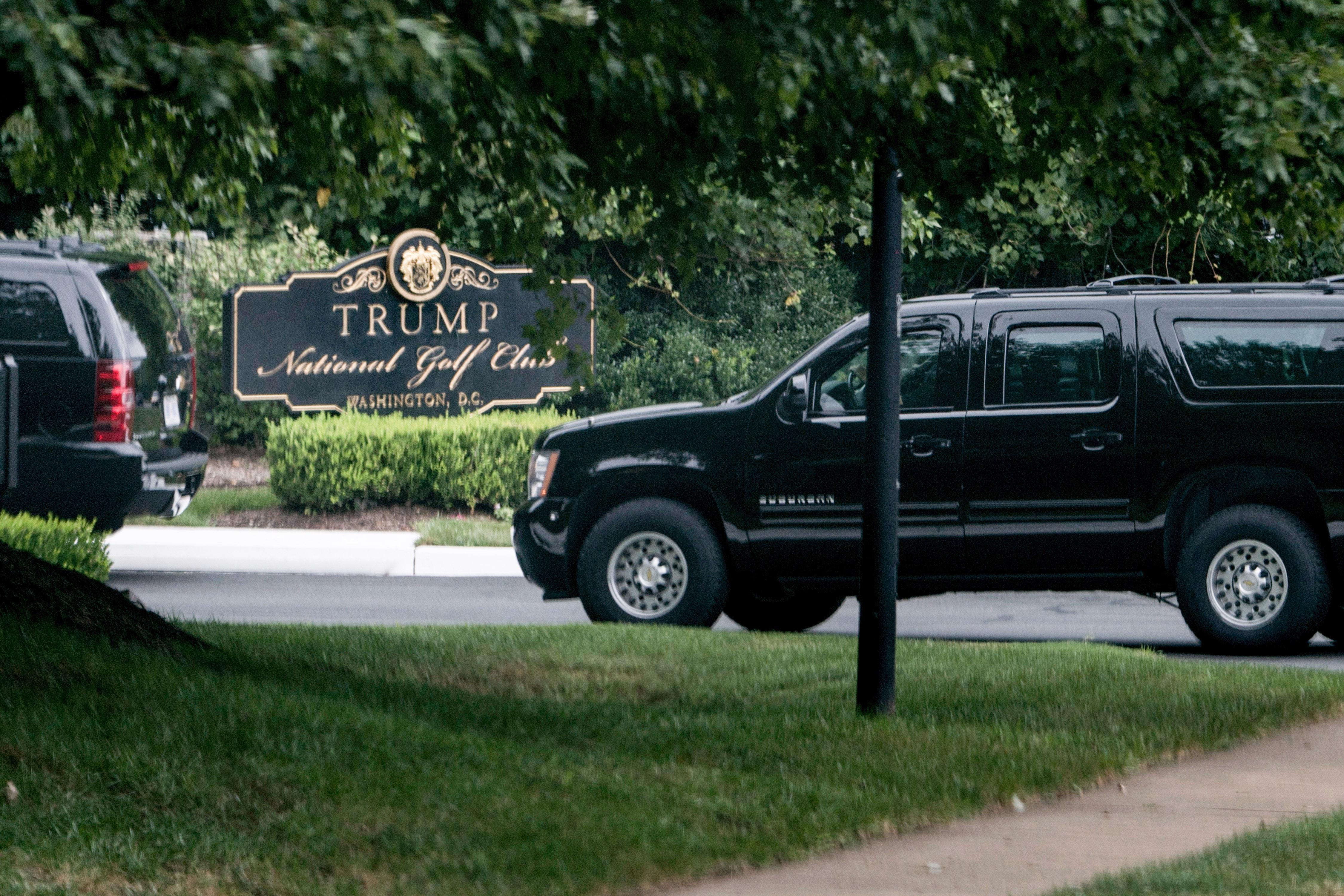 An armored vehicle arrives with President Donald Trump at the Trump National Golf Club September 1, 2018 in Sterling, Virginia.