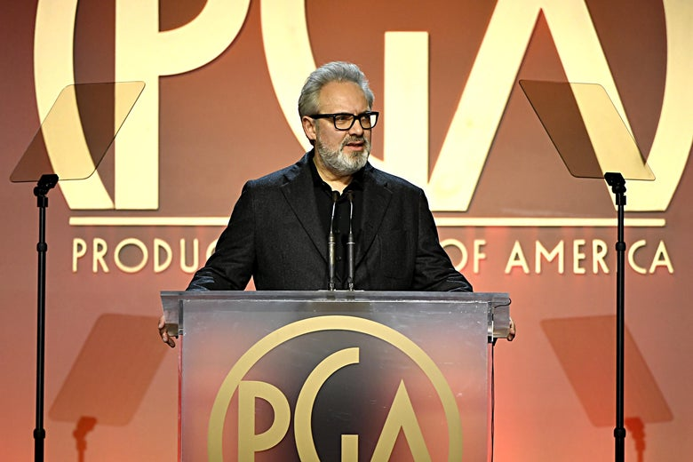 Sam Mendes speaks onstage during the 31st Annual Producers Guild Awards.