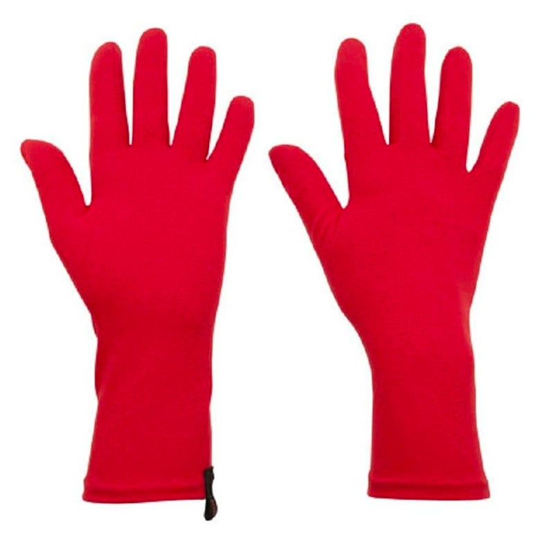 Red gloves.