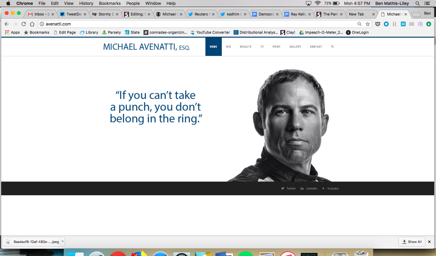 "Michael Avenatti's website, which features a glamour photo of him and the phrase ""If you can't take a punch, you don't belong in the ring."""
