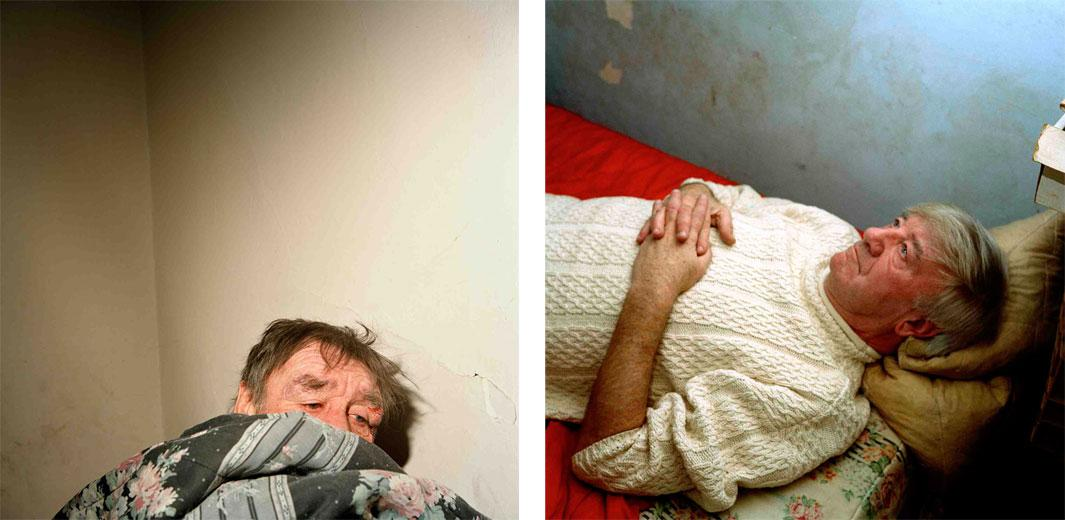 Left: Butchie Under Covers, 2003. I took this photograph of Butch McBride one evening in the room he rented in a boarding house. After learning of the death from pneumonia of a dear friend, Butch went on a drinking binge, fell and cut his forehad. I found out last year that Butch is now dead, too. Right: Charlie Praying, 2003. Charlie lived in a boarding house on the boulevard. One night, I went back to his room and asked him if he could show me how he prayed.