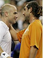 Andre Agassi and Marcos Baghdatis. Click image to expand.